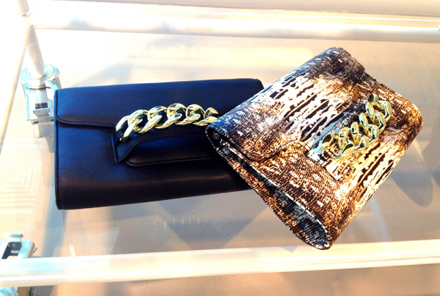 Boxy clutch with chained handle