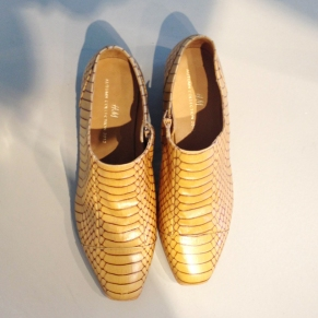 Faux snakeskin loafers