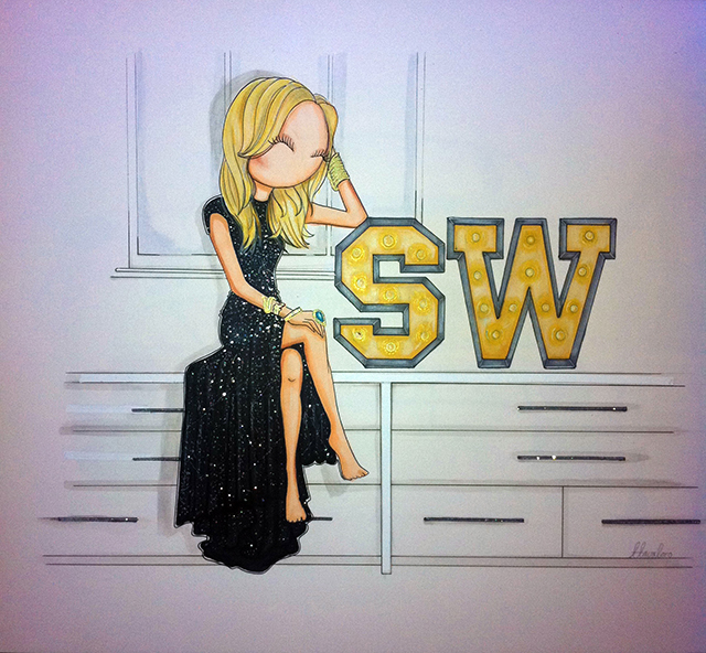 Illustration of a glamed Samantha as commissioned by Samantha Wills herself