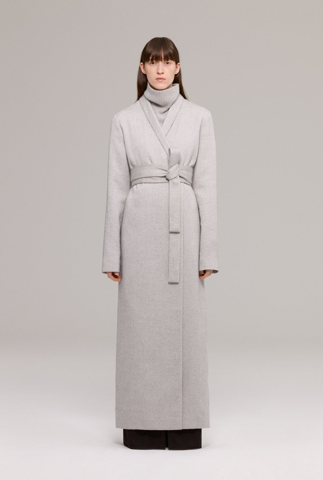 Grey textured wool floor length coat