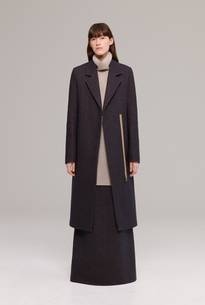 Tailored wool coat with cashmere polo-neck