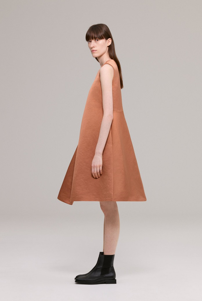 Copper sleeveless dress in heavy cotton sateen