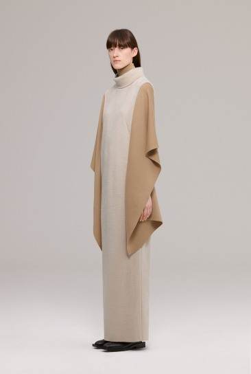 Funnel collar long jersey dress with wool scarf